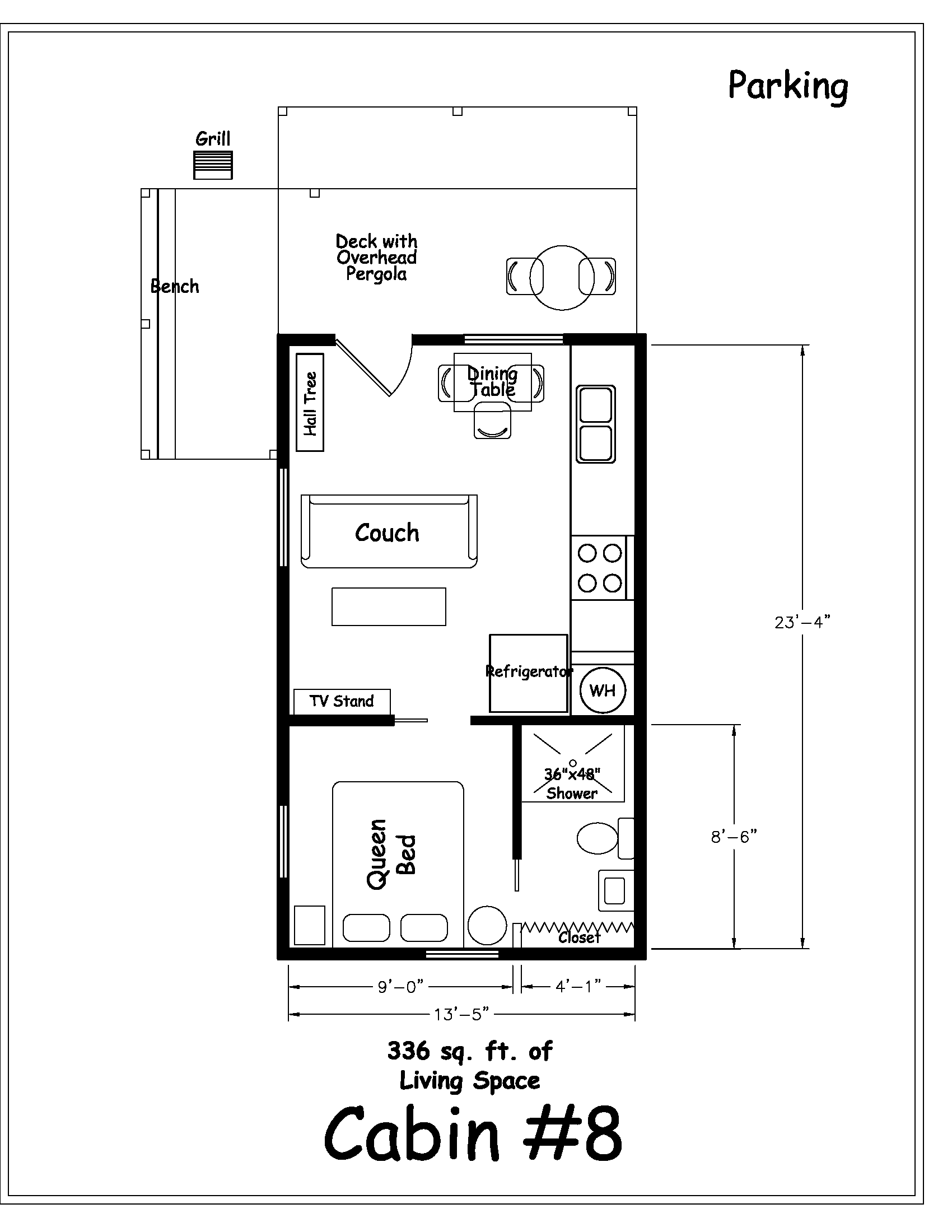 Cabin floor plans vintage house plan how much space for Cabin floor plans
